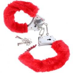 Algemas Com Peluche Beginners Furry Cuffs Vermelhas