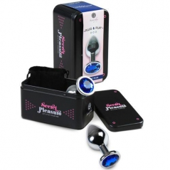 Plug Anal Metalico com Cristal Azul Secret Play - M