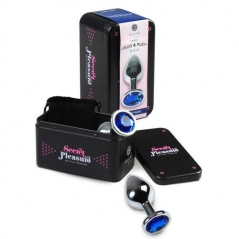 Plug Anal Metalico com Cristal Azul Secret Play - L