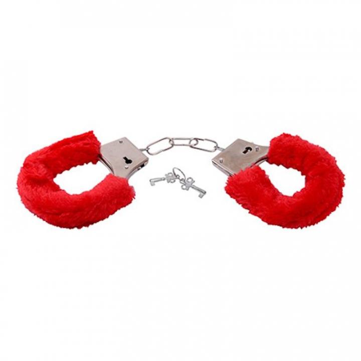 Algemas com Peluche Extreme Furry Love Handcuffs Vermelhas